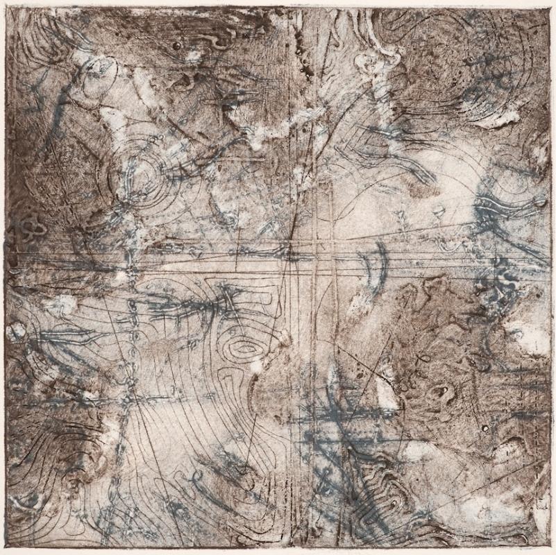 Contour Study 3, encaustic collagraph monoprint on paper 10 x 10 inches.   Studio Inventory
