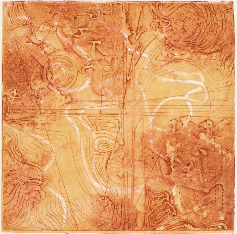 Contour Study 4,  encaustic collagraph monoprint on paper 10 x 10 inches.   Studio Inventory