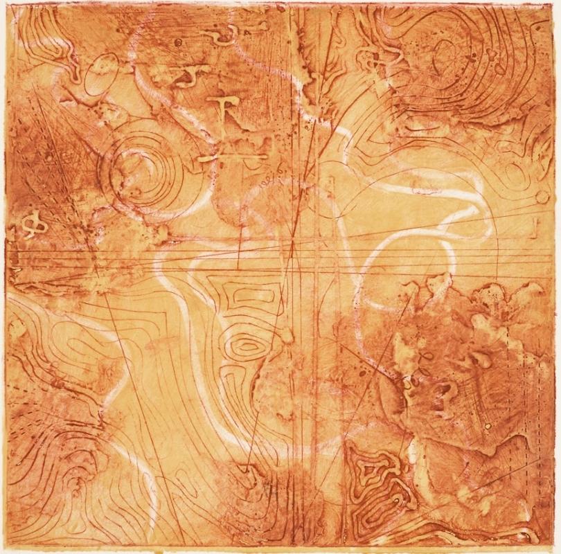 Contour Study 4, encaustic collagraph monoprint on paper 10 x 10 inches.   Studio Inventory