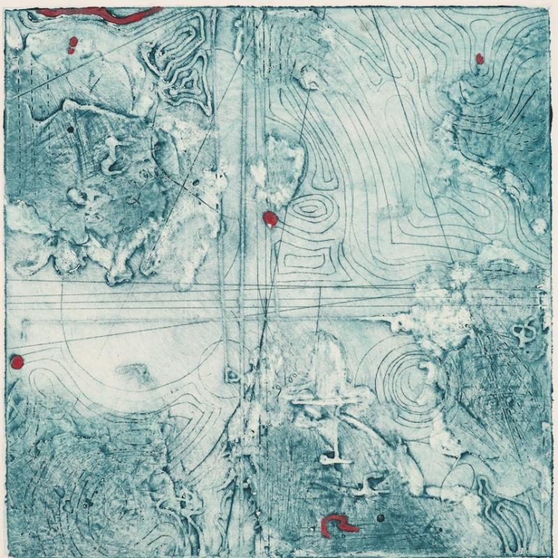 Contour Study 6, encaustic collagraph monotype, Cretacolor on paper 10 x 10 inches.
