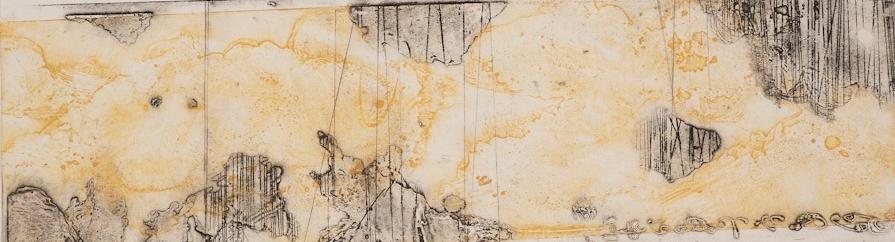 Erosion 2, 2017 encaustic collagraph monoprint on buff paper 8 x 21 inches.  Studio Inventory