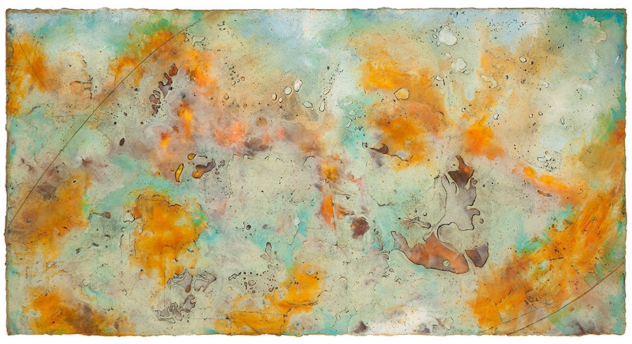 Genesis I, 2016  encaustic and oil on panel 24 x 48 inches. Available at   Gremillion Fine Art & Co., Houston