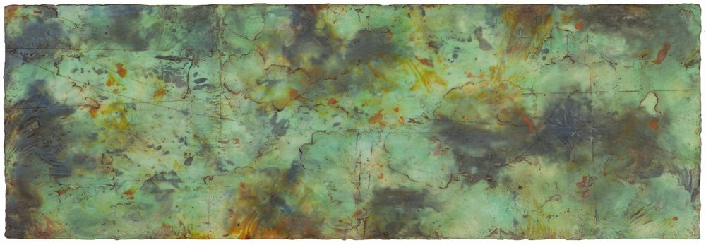 Genesis III, 2016  encaustic and oil on panel 16 x 46 inches. Available at   Butters Gallery, Portland