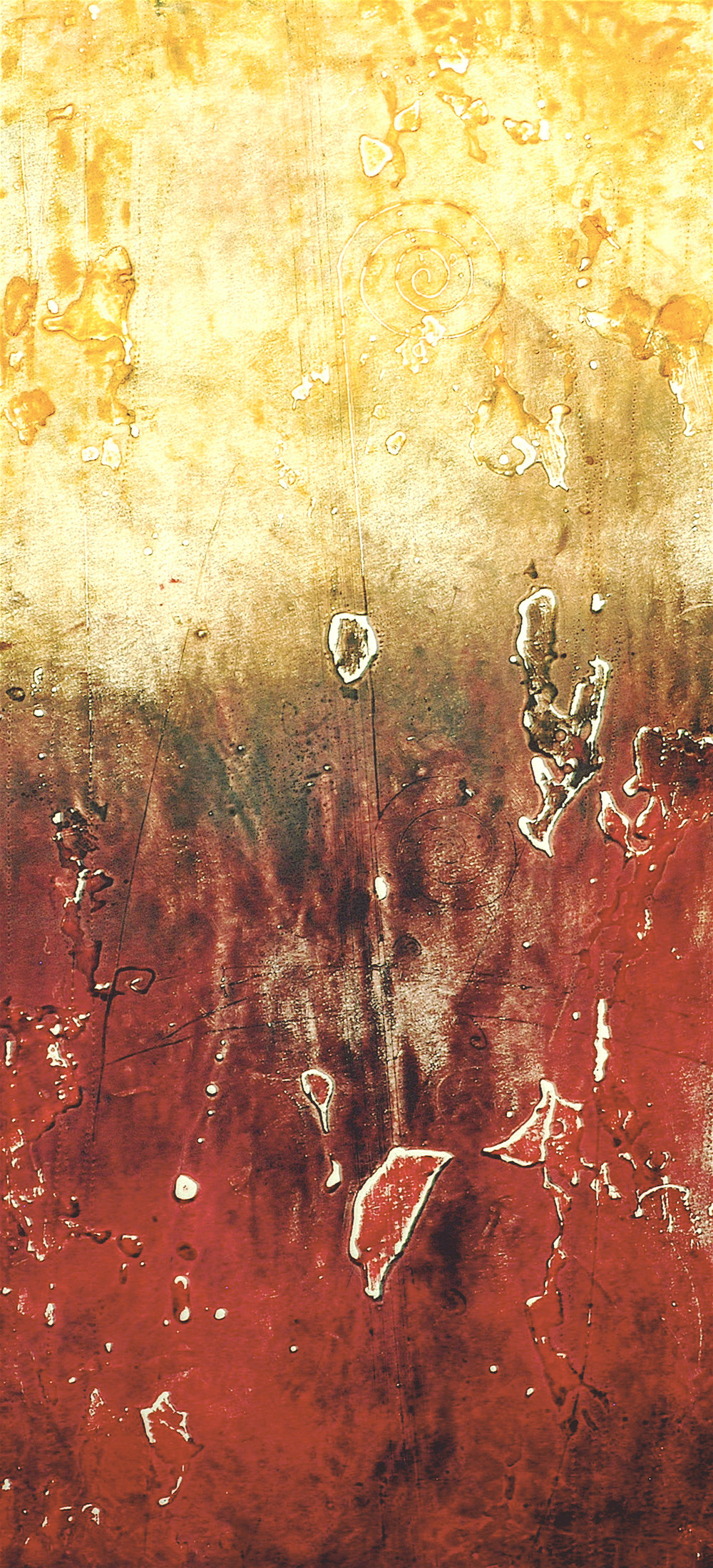 Hadron Print 2 , encaustic collagraph monoprint on paper 24 x 12 inches.   Studio Inventory