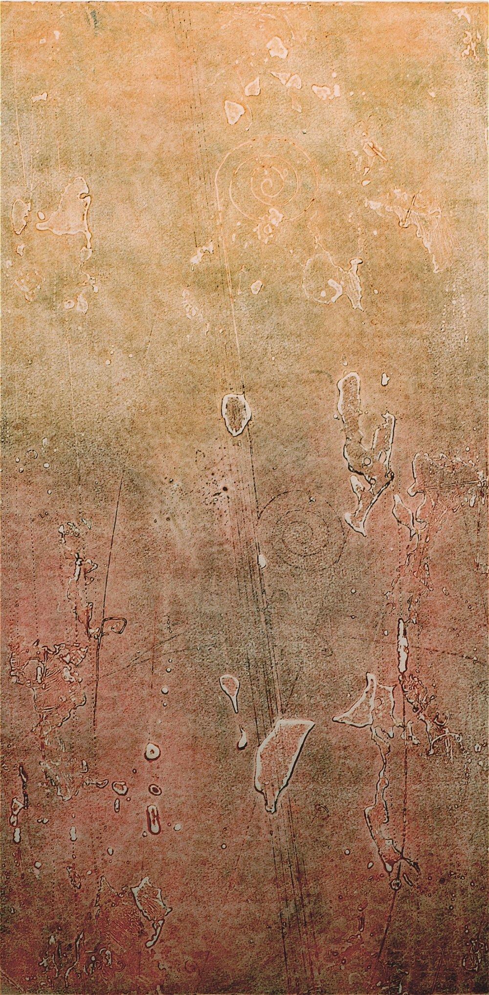 Hadron Print 1 , encaustic collagraph monoprint on paper 24 x 12 inches.   Studio Inventory