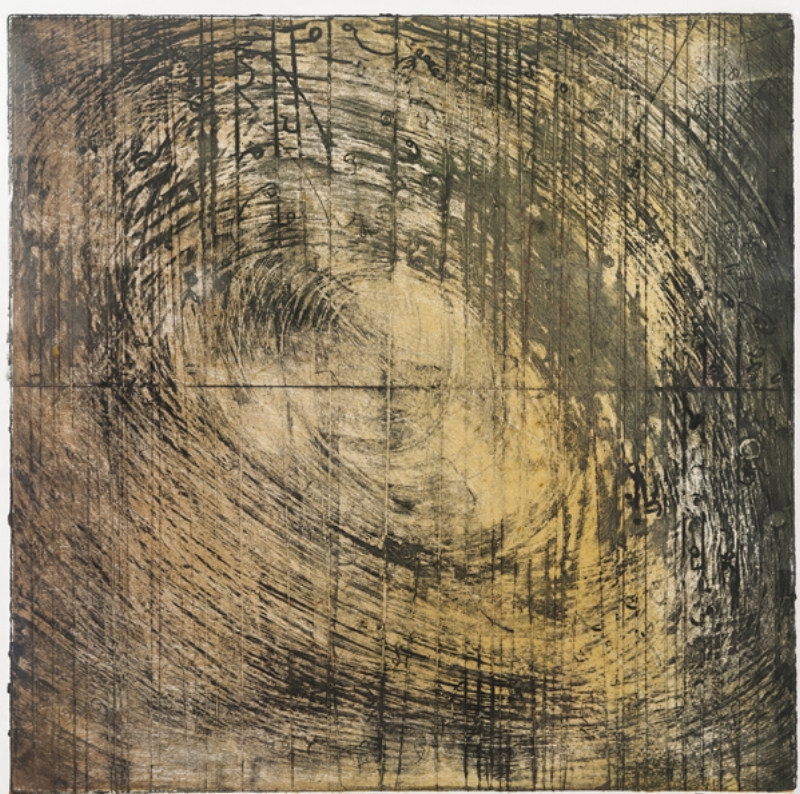 Vortex 1 , encasutic collagraph monotype on paper 20 x 20 inches.   Studio Inventory
