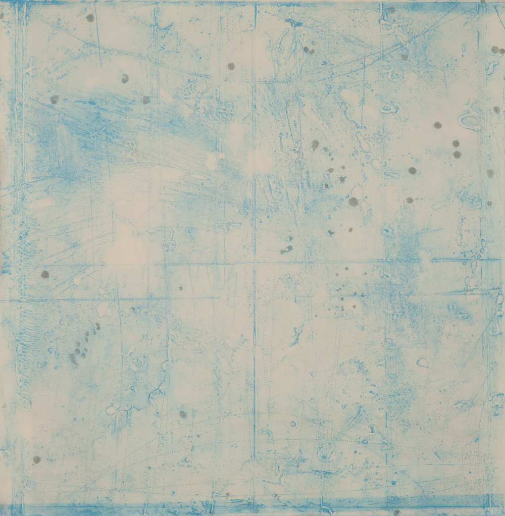 Collision Coalescence Study 1 , encaustic collagraph monoprint on Sakamoto Kozo paper 24 x 24 inches Available at   Gremillion & Co. Fine Art ,  Houston