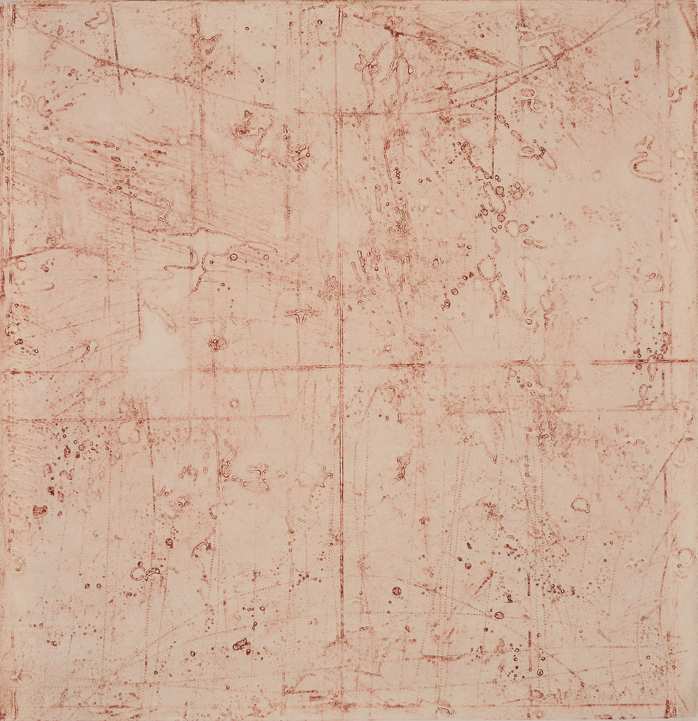 Collision Coalescence Study 4 , encaustic collagraph monoprint on Sakamoto Kozo paper 24 x 24 inches Available at   Gremillion & Co. Fine Art