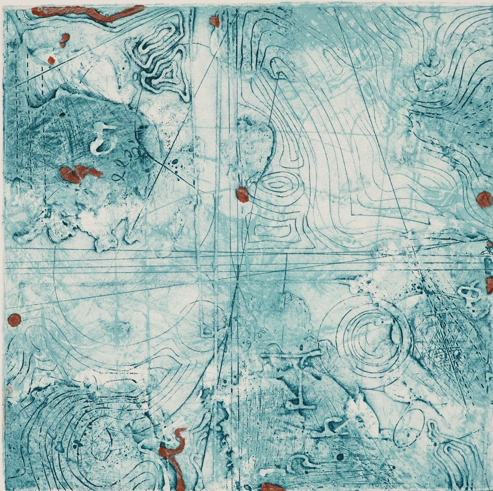 Contour Study 7,  encaustic collagraph monotype, Cretacolor on paper 10 x 10 inches. SOLD