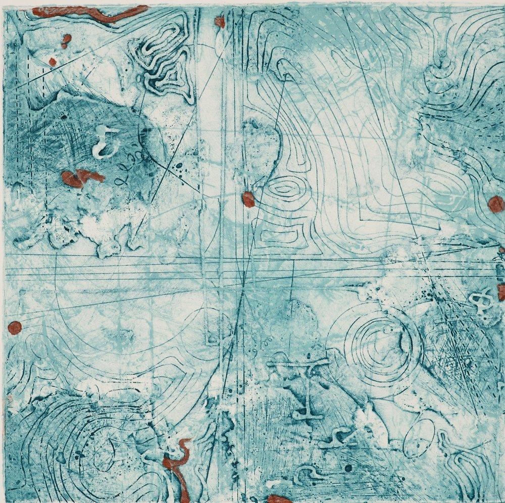 Contour Study 7, encaustic collagraph monotype, Cretacolor on paper 10 x 10 inches.   Studio Inventory