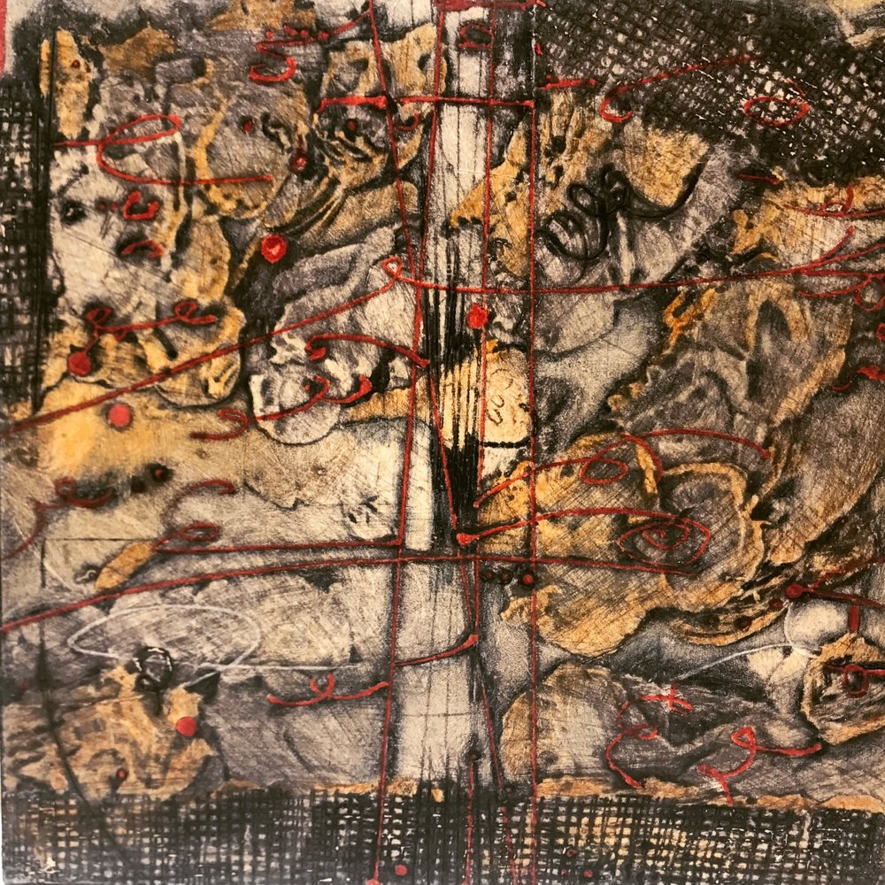 Lost Map 11,  encaustic collagraph monoprint, Cretacolor and medium mounted on board 10 x 10 inches. Available at Available at   Butters Gallery,   Portland