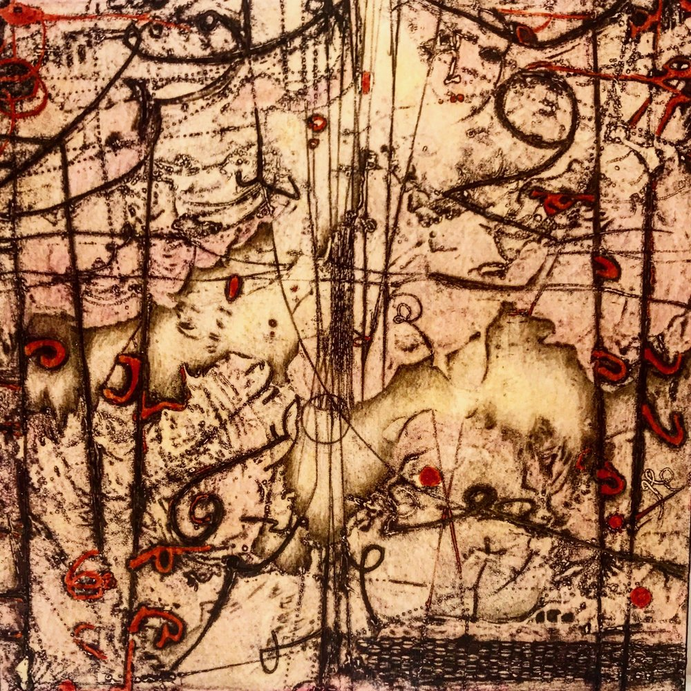Subterranea,  encaustic collagraph monoprint, Cretacolor and medium mounted on board 11 x 11 inches. Available at Available at   Butters Gallery,   Portland