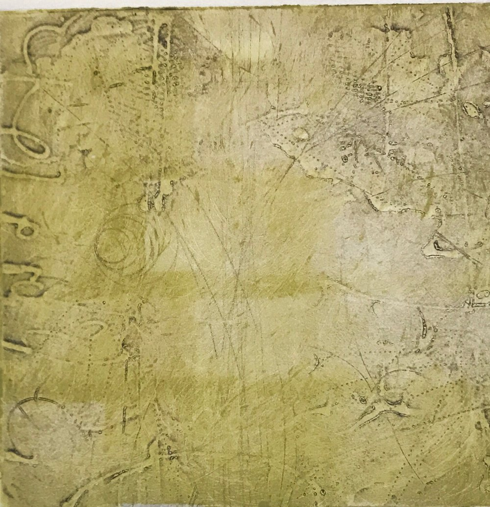 Sigma Self-Energy 13,  encaustic collagraph monoprint on paper 10 x 10 inches. Available at   Warnock Fine Arts  , Palm Springs