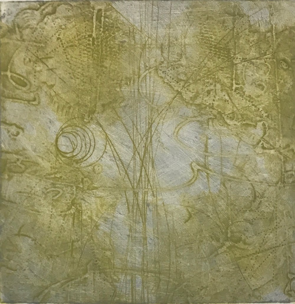 Sigma Self-Energy 15,  encaustic collagraph monoprint on paper 10 x 10 inches.  Sigma Self-Energy 14,  encaustic collagraph monoprint on paper 10 x 10 inches. Available at   Warnock Fine Arts  , Palm Springs