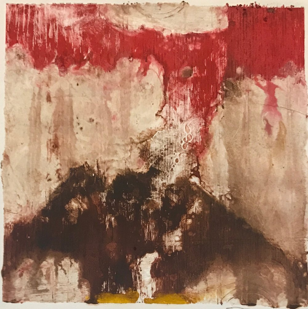 Vocano Print,  encaustic collagraph monoprint on paper 10 x 10 inches. Available at   The Fine Art Associates  , Honolulu