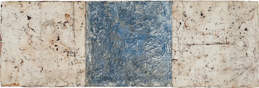 Residuals, 2016  tissue paper collage, graphite, oil and beeswax on panel 10 x 30 inches. Available at   Frederick Holmes & Co., Seattle