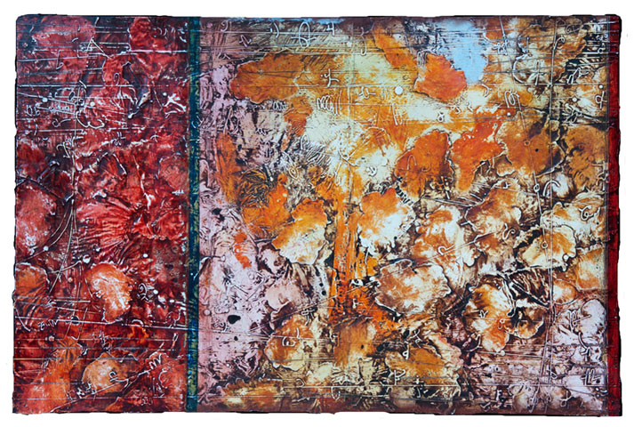 Plume , encaustic and oil on panel 22.5 x 38 inches. Available at   Frederick Holmes & Co., Seattle