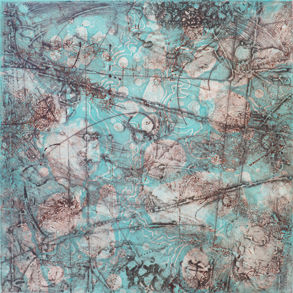 Remnant Topography 8 , encaustic collagraph monoprint 10 x 10 inches. Available at   Warnock Fine Arts  , Palm Springs