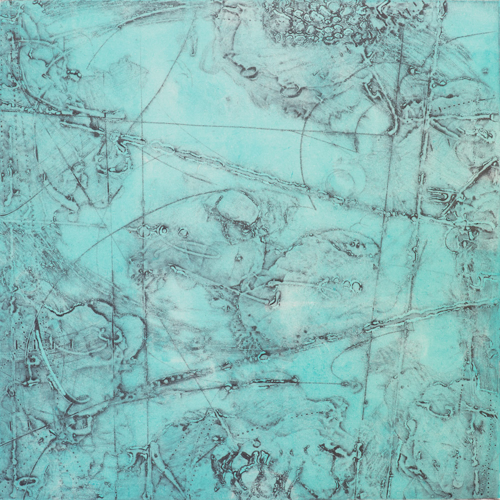 Remnant Topography 9 , encaustic collagraph monoprint 10 x 10 inches.   Studio Inventory,   Portland, OR