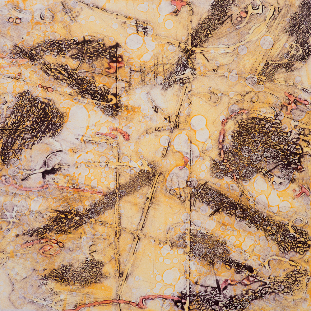 Terra Warming 2 , encaustic collagraph monoprint 10 x 10 inches.   Studio Inventory,   Portland, OR
