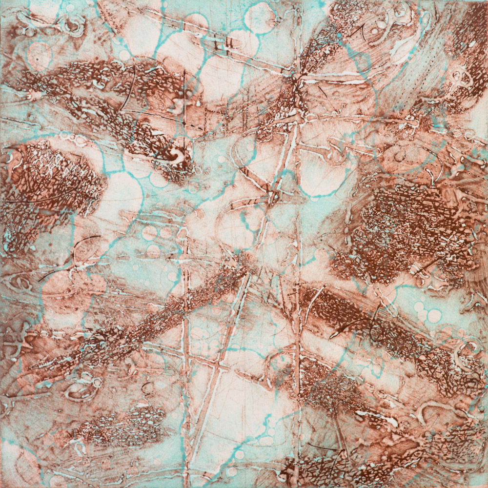 Terra Warming 4 , encaustic collagraph monoprint 10 x 10 inches. Available at   Warnock Fine Arts  , Palm Springs
