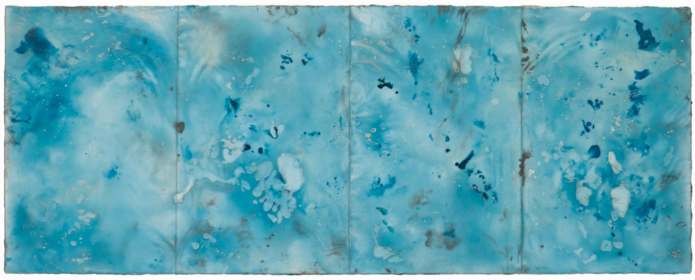 Glacier Stream, 1.  encaustic and oil onpanel 18 x 46 inches