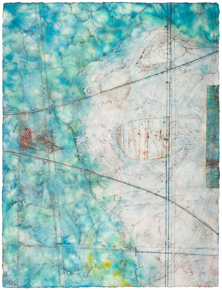Glacier Atlas, 2.  encaustic and oil on panel 55 x 42 inches