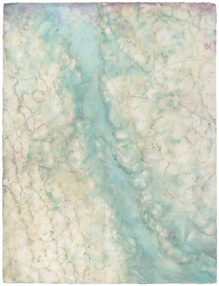 Glacier Stream 2. encaustic and oil on panel 55 x 42 inches