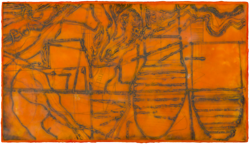 Mined Earth 1.  collagraph monoprint, encaustic and oil on panel 12 x 22 inches