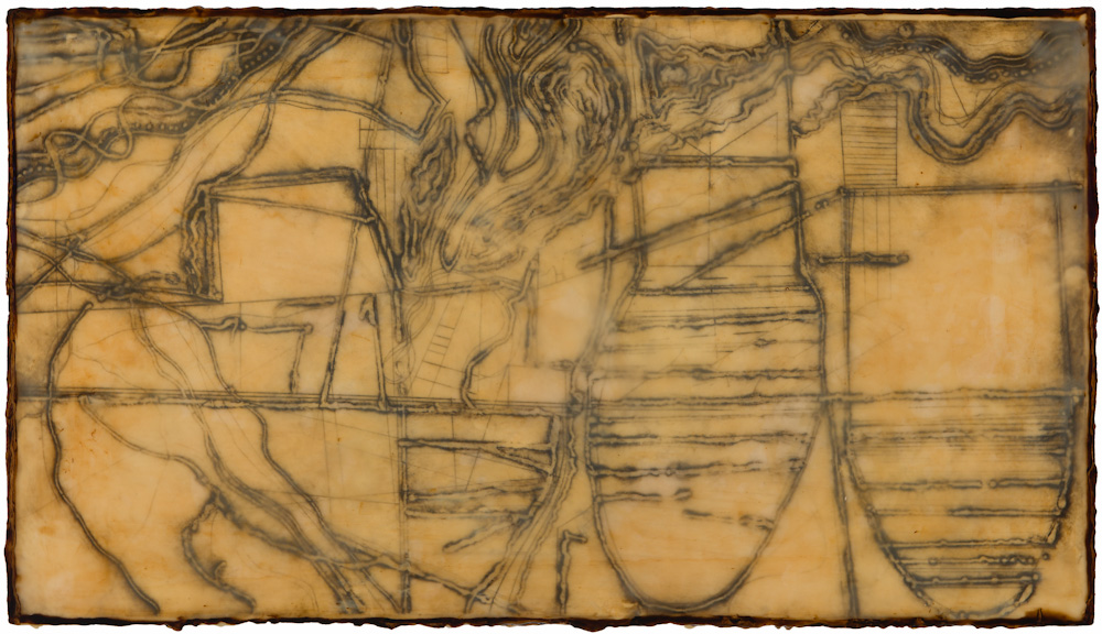 Mined Earth 3.  collagraph monoprint, encaustic and oil on panel 12 x 22 inches