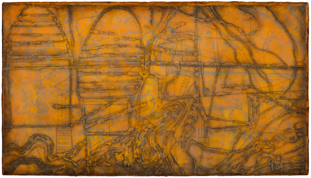 Mined Earth 2.  collagraph monoprint, encaustic and oil on panel 12 x 22 inches