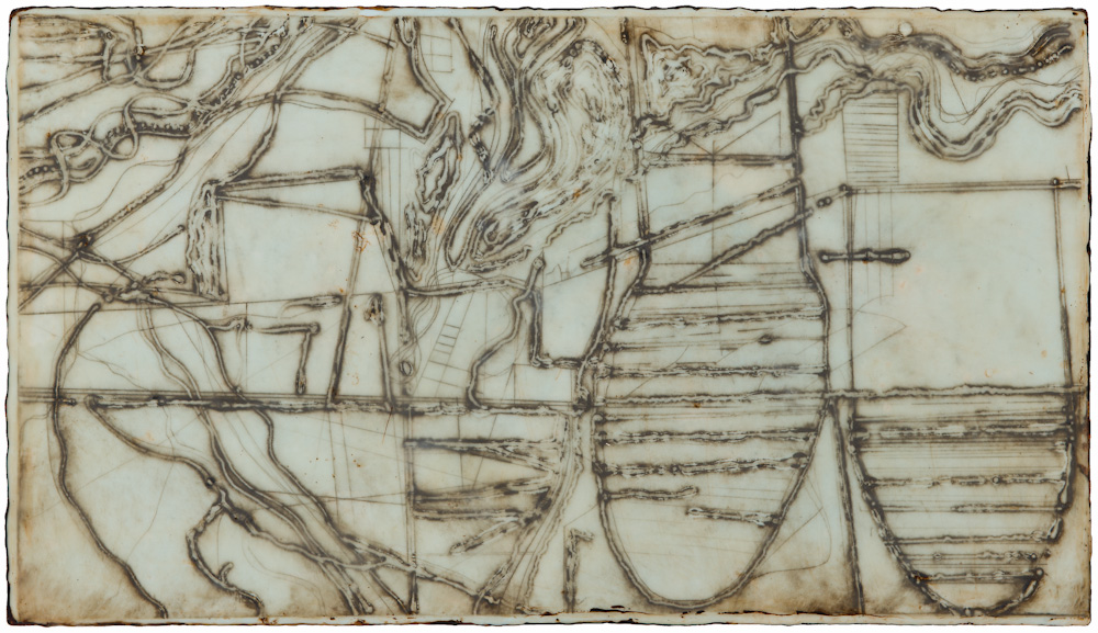 Mined Earth 5. collagraph monoprint, encaustic and oil on panel 12 x 22 inches