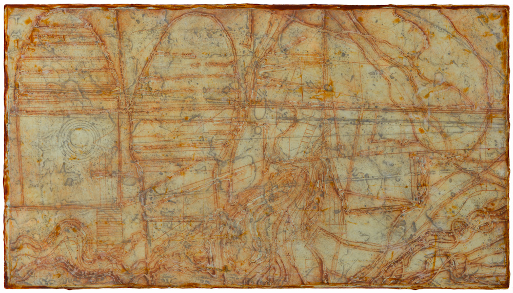Mined East 4.  collagraph monoprint, encaustic and oil on panel 12 x 22 inches