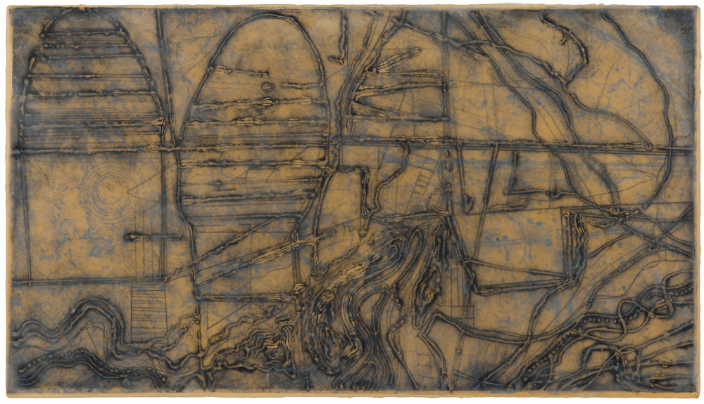Mined Earth 6.  collagraph monoprint, encuastic and oil on panel 12 x 22 inches