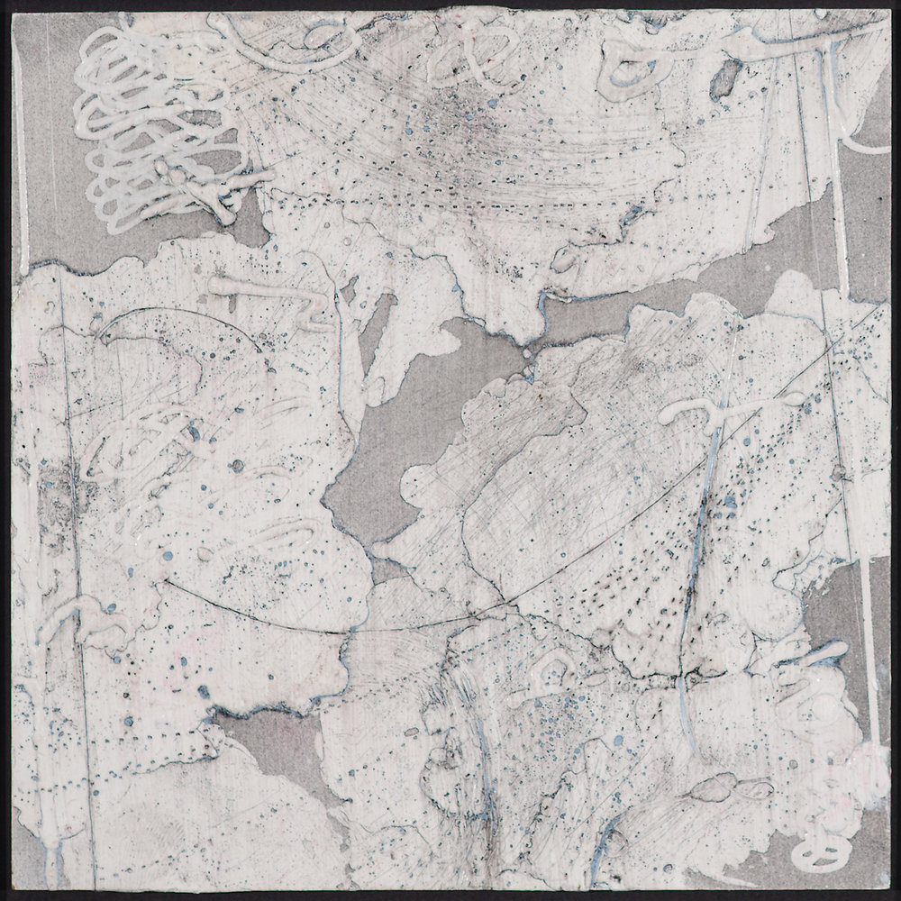 Arctic Contour 2.  encaustic and ink on panel 6 x 6 inches