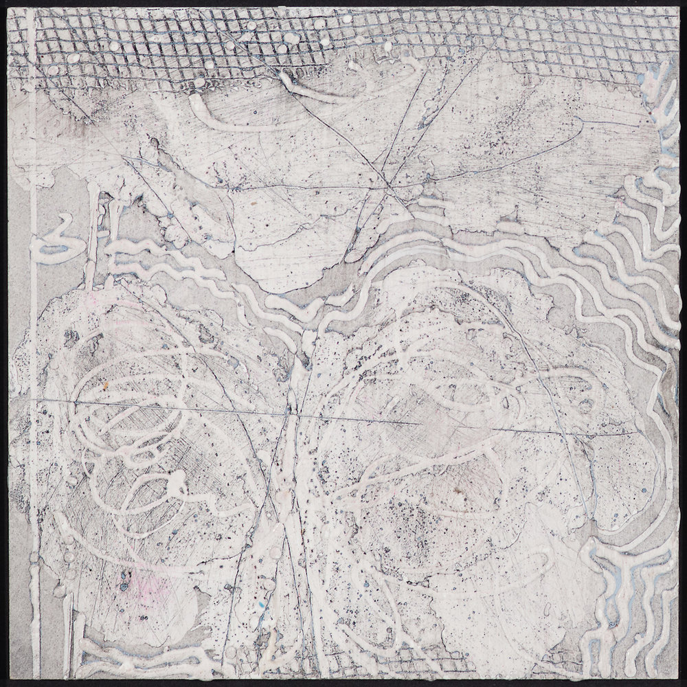 Arctic Contour 1.  encaustic and ink on panel 6 x 6 inches