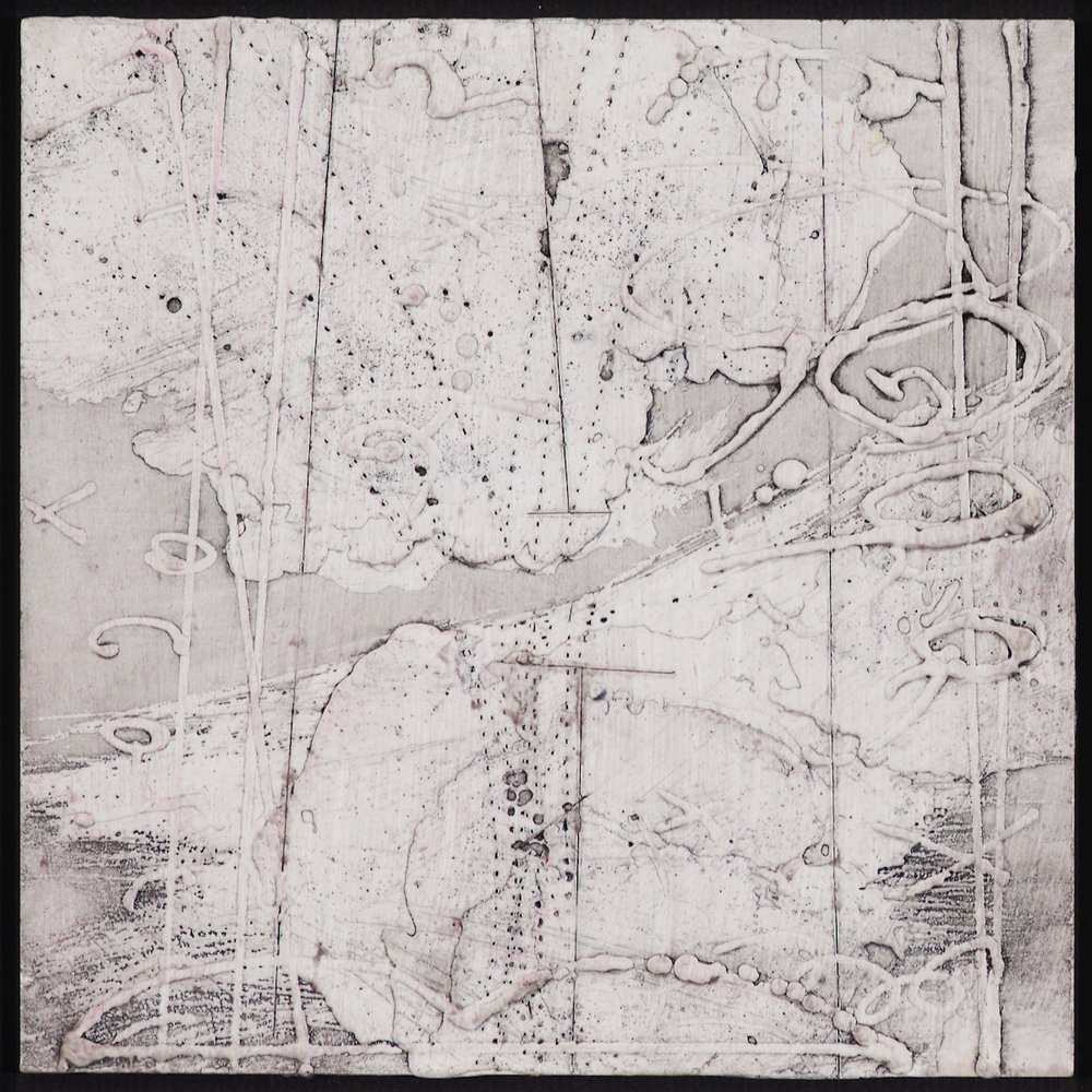 Arctic Contour 3.  encaustic and ink on panel 6 x 6 inches