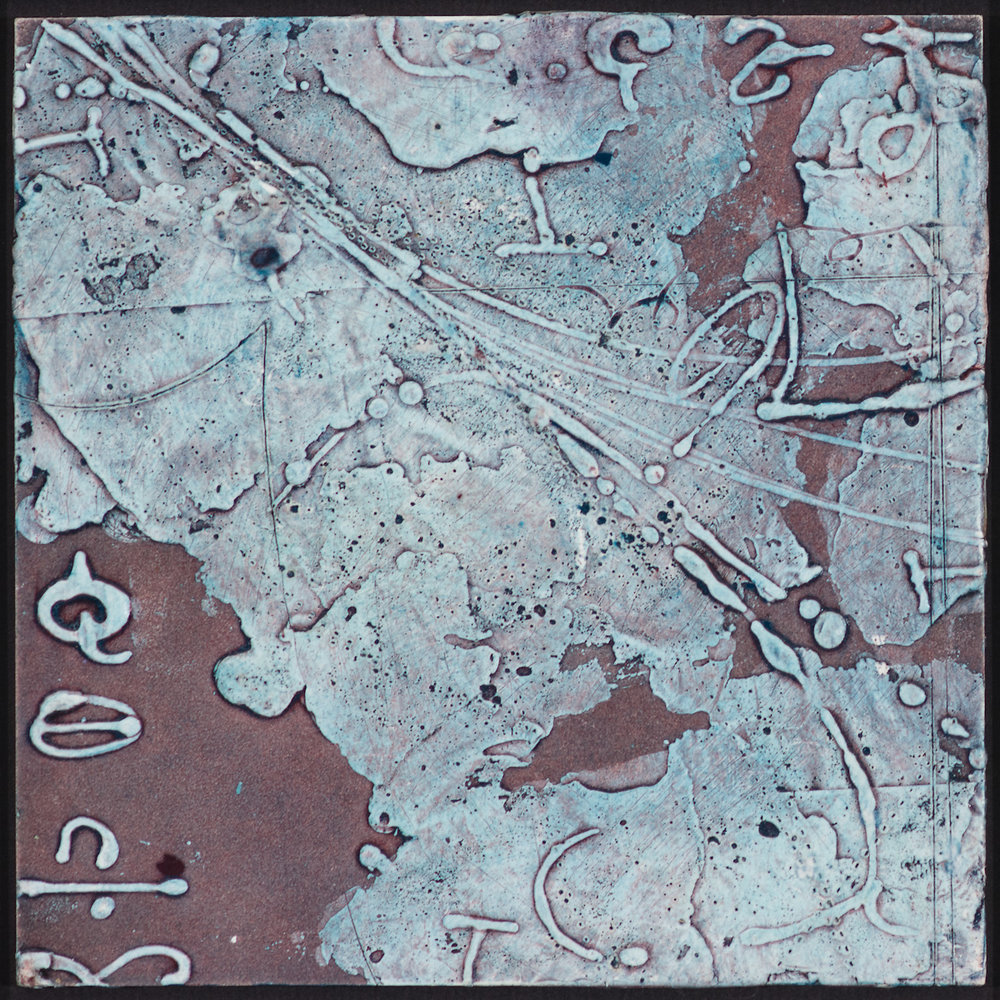 Arctic Contour 4.  encaustic and ink on panel 6 x 6 inches  S SOLD