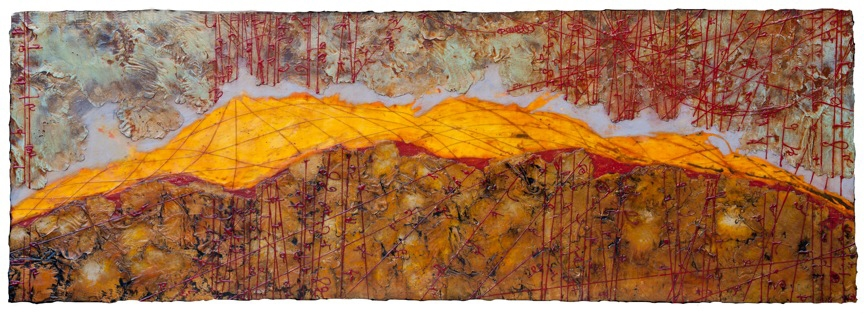 "Absolute Horizon II,  encaustic and oil on panel, 24"" x 70"""