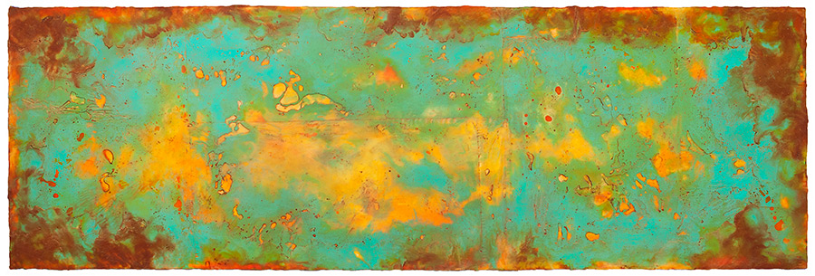 Genesis II  encaustic and oil on panel 24 x 70 inches    Inquire for price