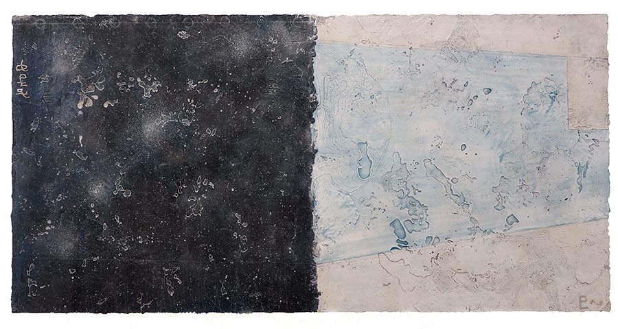 Pluto Atlas I.  encaustic and oil on panel 24 x 48 inches