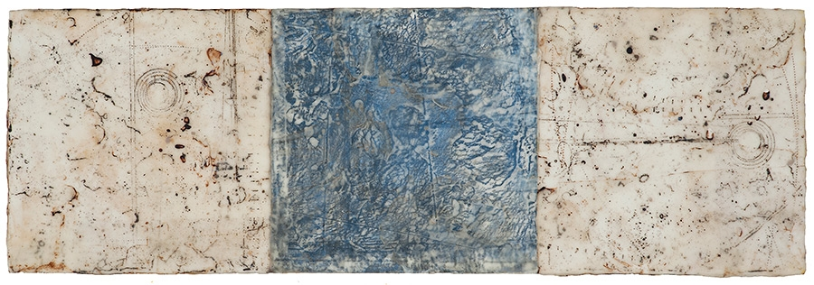 "Residuals  mixed media on panel 10"" x 30"""