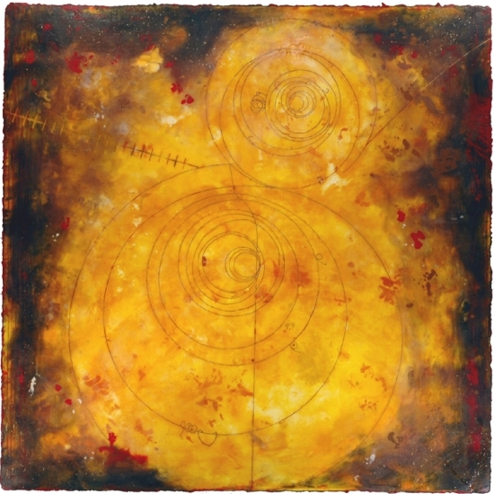 Counter Collision II, 2010  encaustic and oil on panel 48 x 48 inches. Available at   Gremillion & Co. Fine Art, Houston