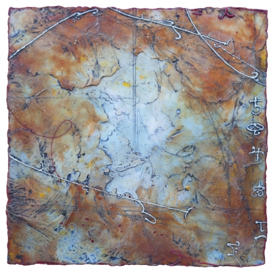 Suspended Hemisphere, 2015  encaustic and oil on panel 18 x 18 inches.   Studio Inventory.