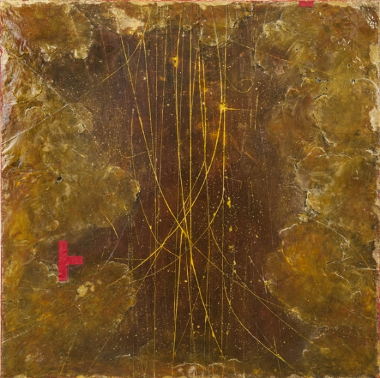 Quark Legend, 2014  encaustic and oil on panel 23 x 23 inches.   Inquire for price.     On view at     Garagiste Wine Bar   .