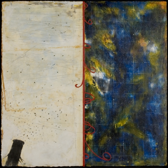 Swift Descent, 2006  encaustic and oil on panel 36 x 36 inches.   Inquire for price.