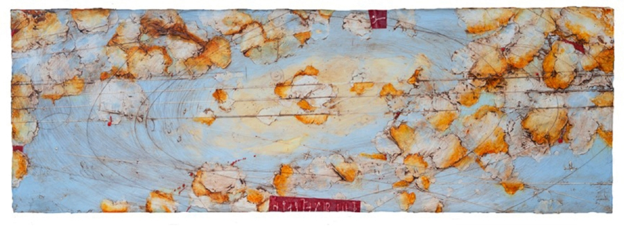 Remnant Horizon,  encaustic and oil on panel 24 x 70 inches.      Inquire for price.      On view at     Garagiste Wine Bar   .