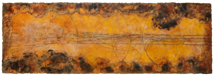Apex II, 2012  encaustic and oil on panel 24 x 70 inches.   Studio Inventory