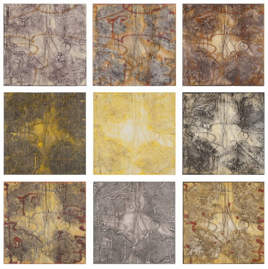 Sigma Self-Energy 1-9 , monoprint and acrylic medium on panel, 30 x 30 inches (10 x 10 inches each). Available at   Gremillion & Co. Fine Art, Houston
