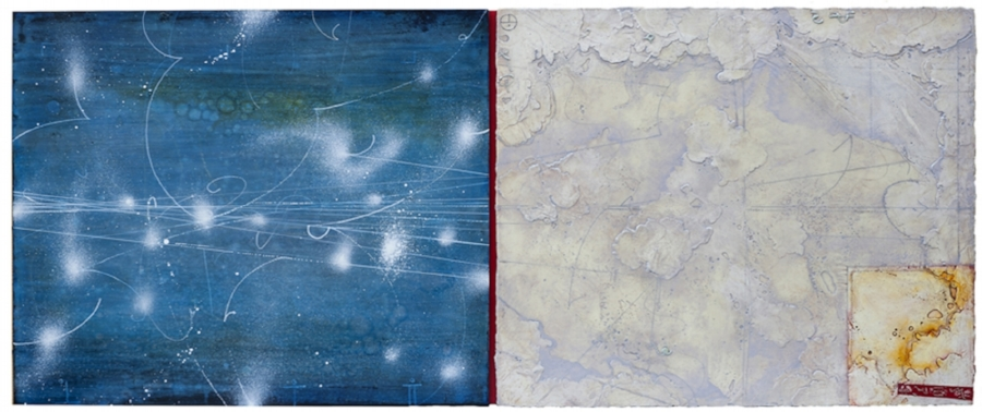 Opposing Cartography 7,  2015 encaustic and oil on panel 24 x 60.5 inches.   Available at   Frederick Holmes & Co., Seattle.